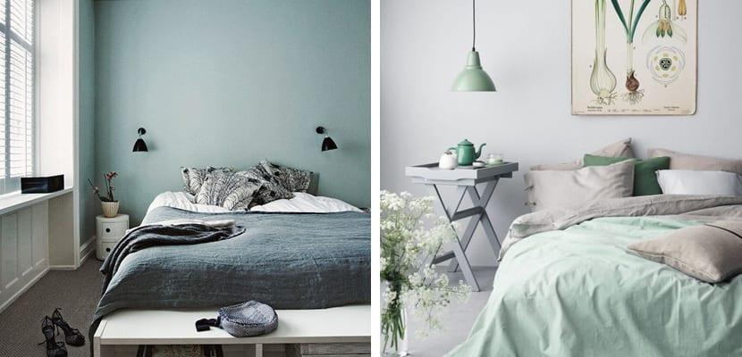 Dormitorio verde menta