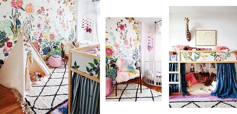 Dormitorio infantil con flores