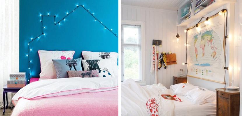 Guirnaldas de luces para iluminar el dormitorio - Guirnaldas de luces ...