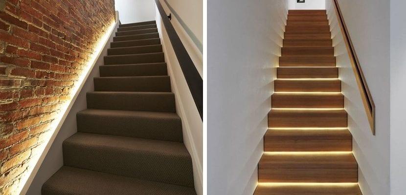 Luces escondidas en las escaleras