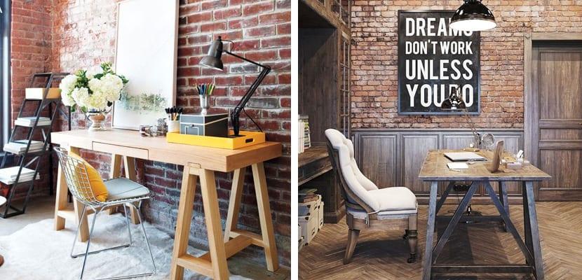 Oficina con paredes de ladrillo