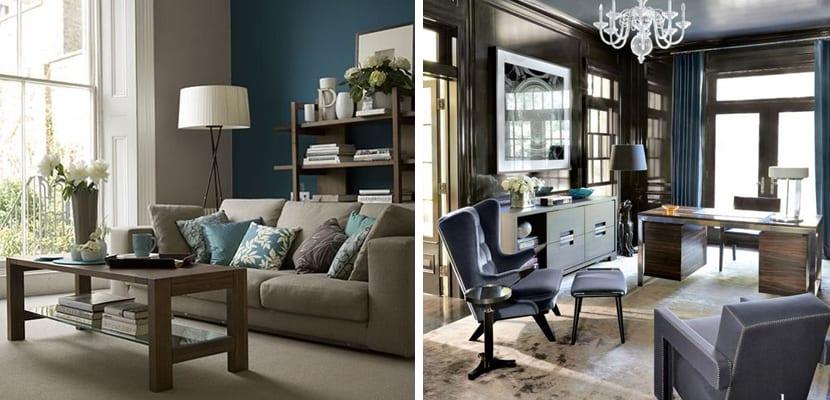 Salón azul y marrón