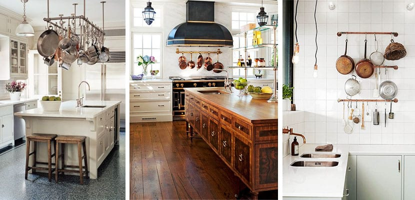 Diferentes formas de organizar y colgar las sartenes en la for Soporte utensilios cocina