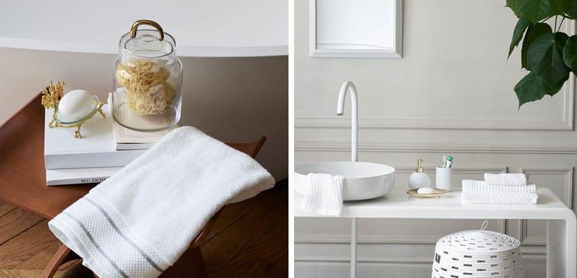 Blanco y dorado en el baño