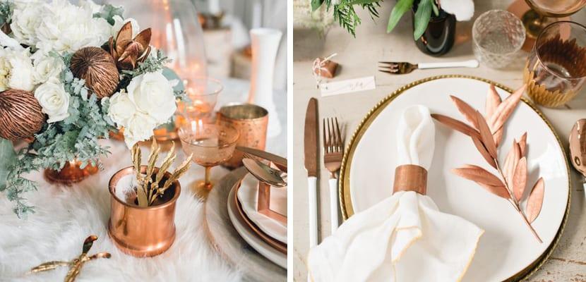 Mesa en tonos cobre