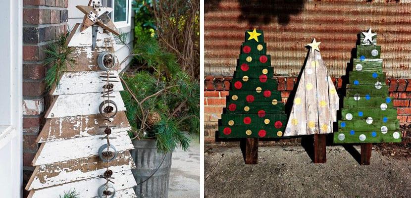 Árboles de navidad con palets