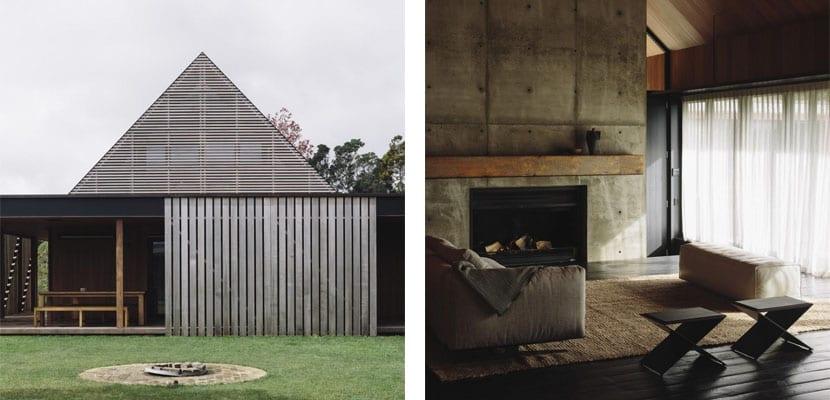 Casa de madera abierta al bosque