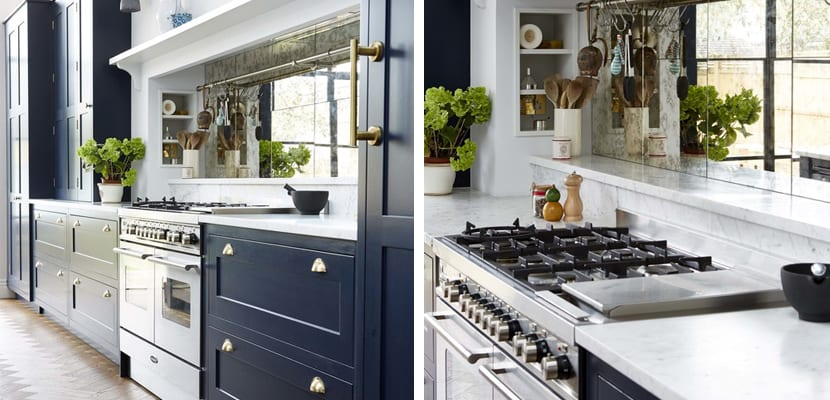 Cocina vintage en color azul marino