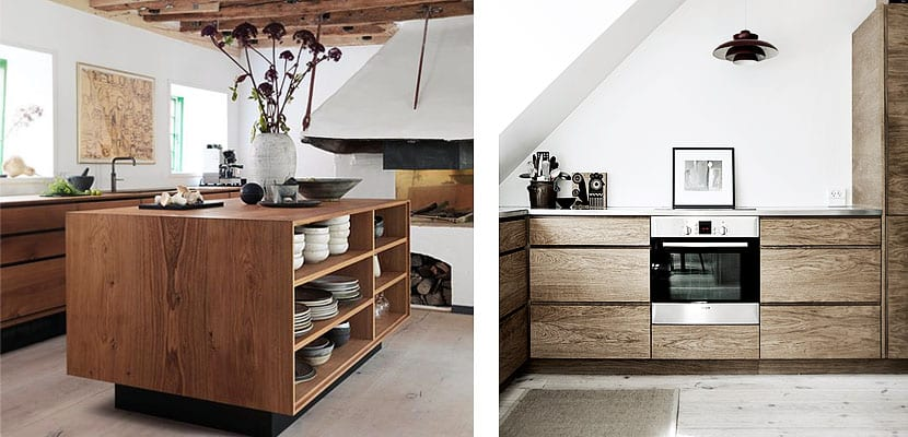 Cocinas contempor neas con suelos y armarios de madera for Cocina de madera antracita