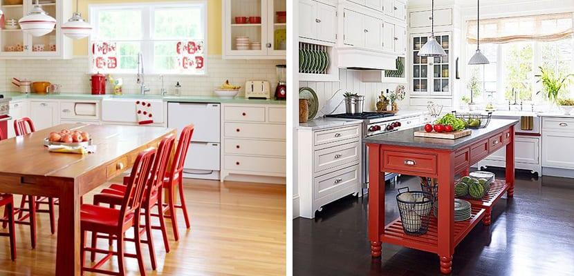 Cocinas con muebles rojos