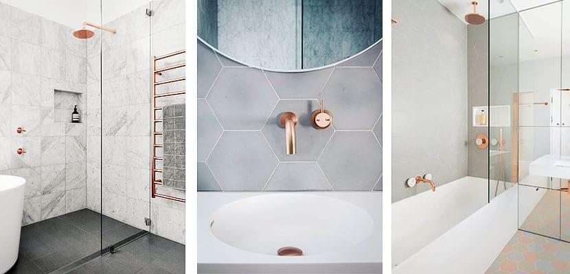 Cuartos de baño contemporáneos decorados con accesorios de cobre