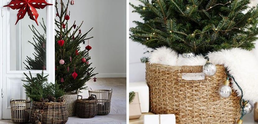 Decorar la base del rbol en navidad for Cesta arbol navidad
