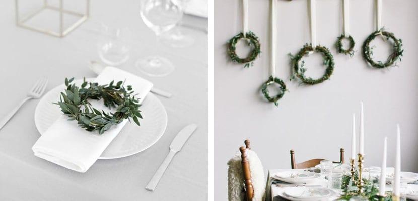 Mesa en blanco y verde
