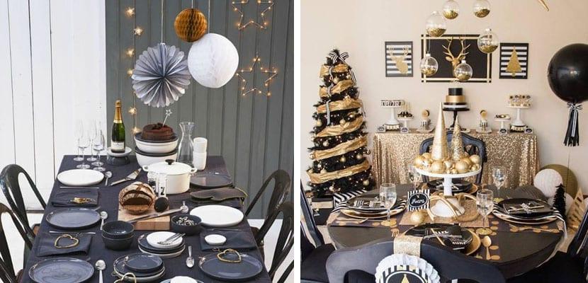 Mesa de navidad en negro