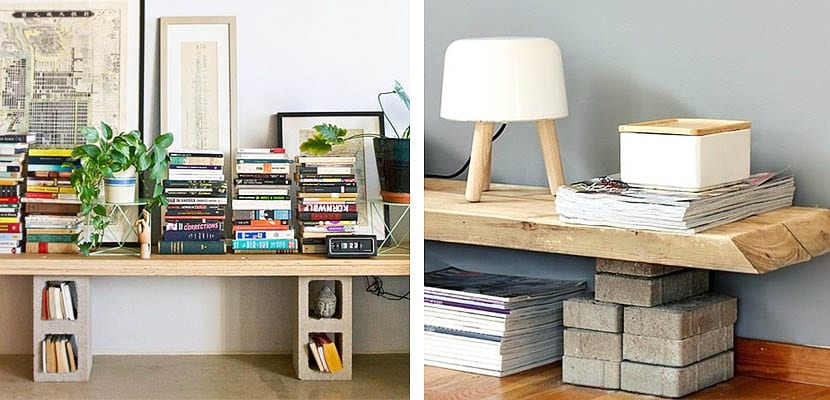 Muebles para la televisión con bloques de cemento