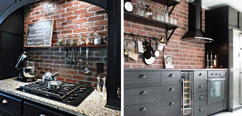 Cocina con paredes de ladrillo