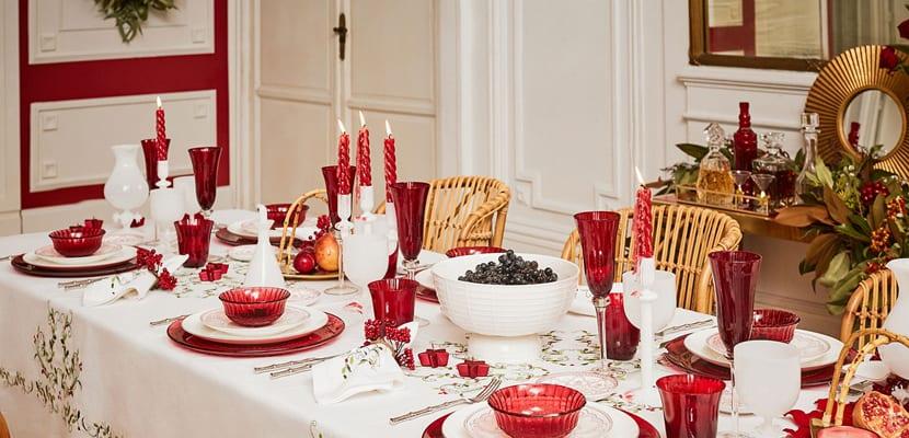 Mesa roja navidad
