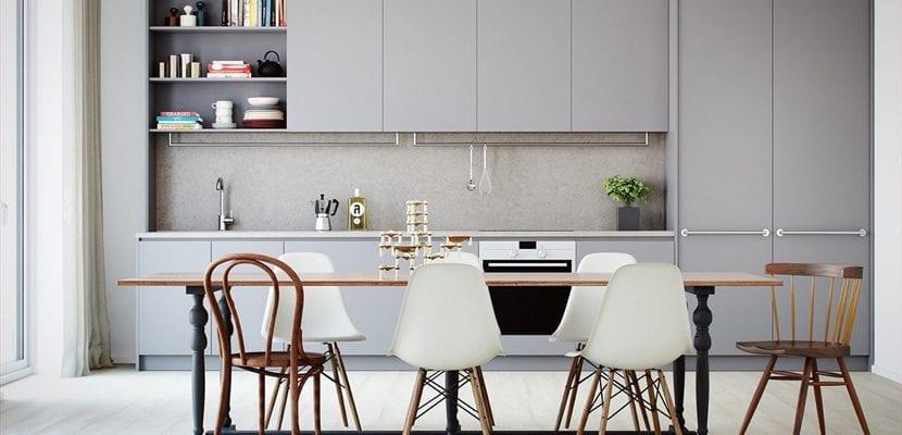 cocina gris claro
