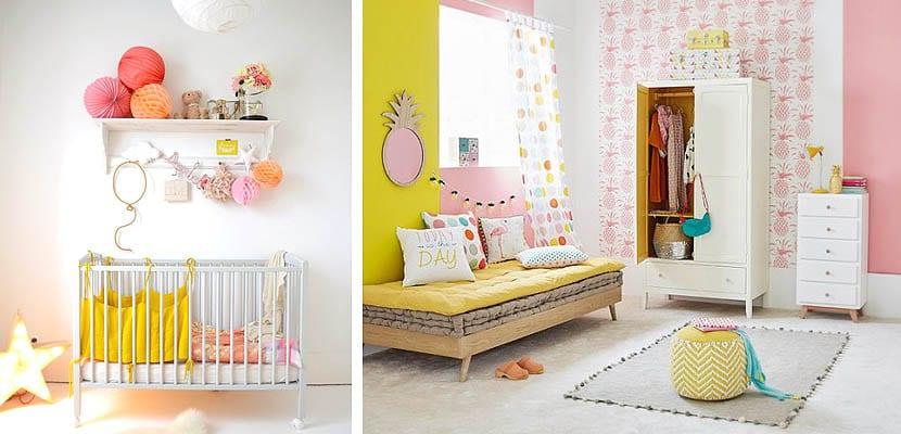 Dormitorios de bebé rosas y amarillos