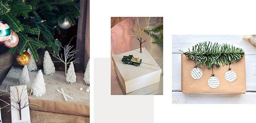 Envoltorios de regalo con ramas