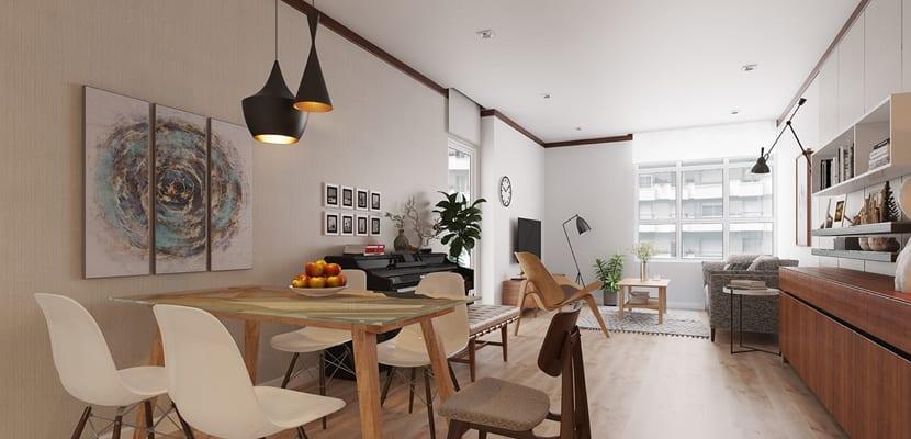 Un minipiso con muebles de diseño