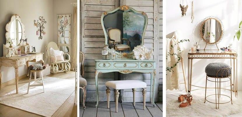 Tocador vintage y romántico en dormitorio