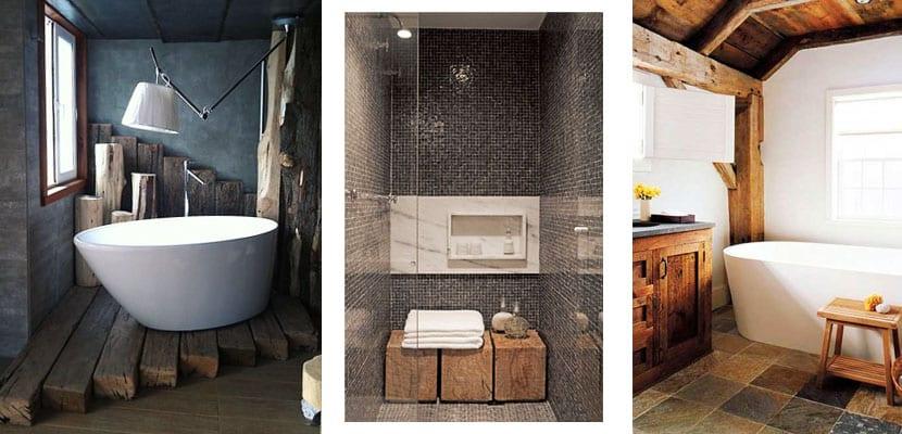 Vigas de madera en el cuarto de baño