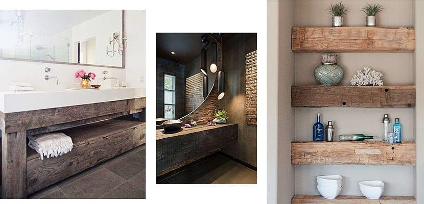 Vigas de madera para decorar el cuarto de ba o - Como decorar un cuarto de bano ...