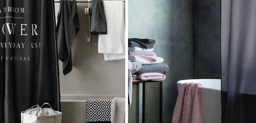 Cortinas de baño en tonos oscuros