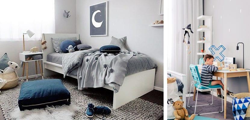 Dormitorios infantiles azul y gris