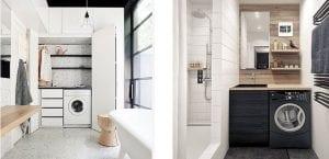 Lavadora en el cuarto de baño
