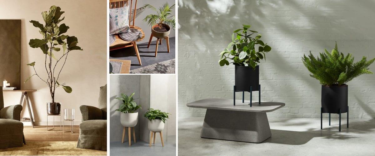 Maceteros minimalistas con peanas para decorar espacios modernos