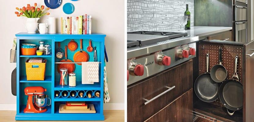 Paneles perforados para usar en la cocina for Colgar utensilios de cocina