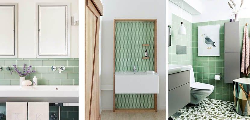 Cuartos de baño con azulejos verdes