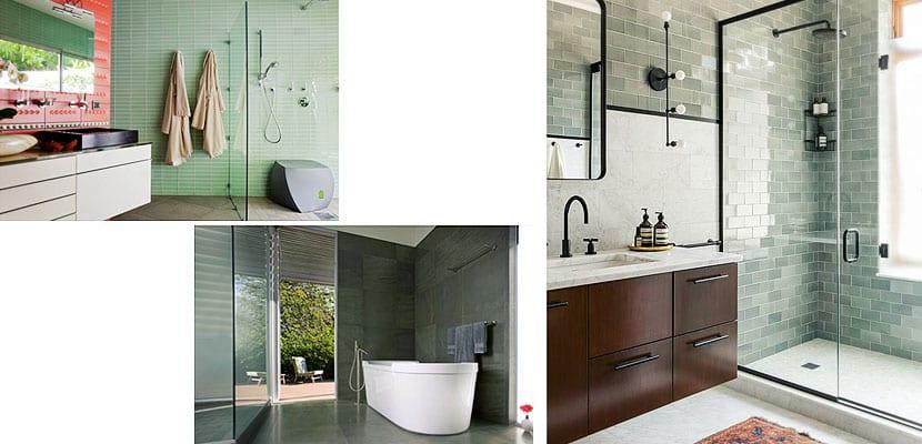 Cuartos de baño con azulejos de color verde
