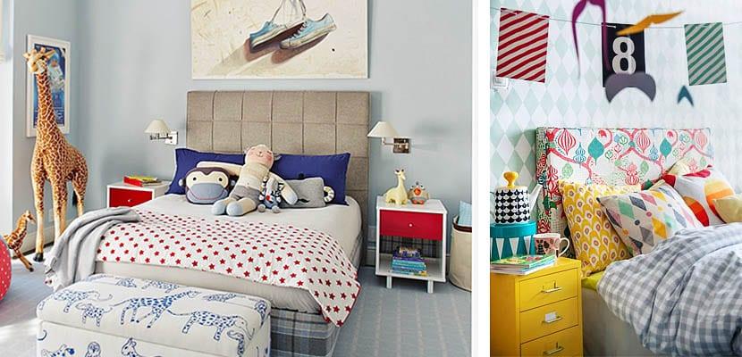 Cabeceros tapizados en dormitorio infantil