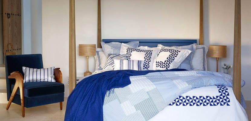 Textiles de cama en azul