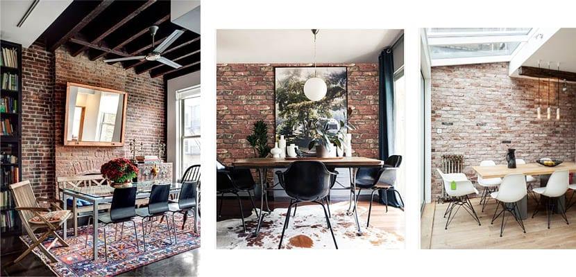 Comedores con paredes de ladrillo visto