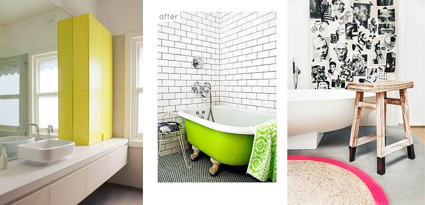 Cuartos de baño con toques en colores neón