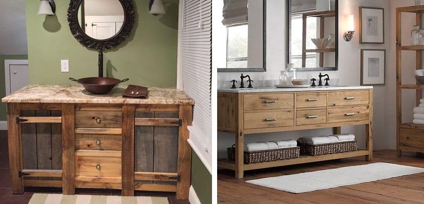 Lavabos de estilo r stico para el ba o - Muebles estilo rustico moderno ...