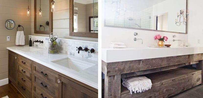 Lavabos de estilo r stico para el ba o - Mueble lavabo rustico ...