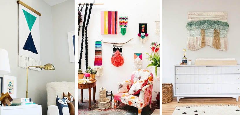 Tapices artesanales tejidos en telar para decorar