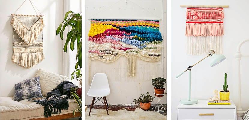 Tapices tejidos en telar para decorar