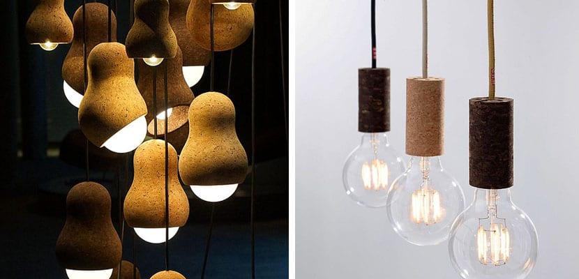 Lámparas de corcho