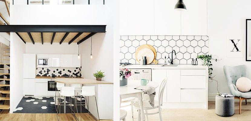 Frentes de cocina con azulejos hexagonales