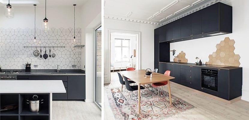 Bonitos frentes de cocina con azulejos hexagonales - Azulejos cocina ...