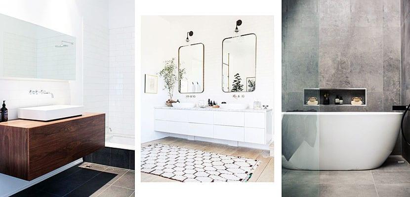 Baños modernos: Muebles florantes y bañeras exentas
