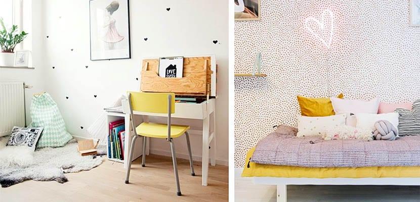 Motivos de corazones en el dormitorio infantil