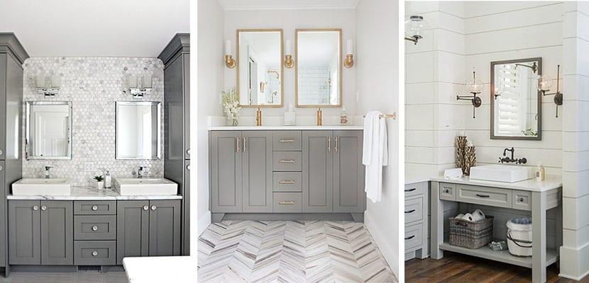 Ideas para decorar el cuarto de ba o con muebles grises - Muebles cuarto bano ...
