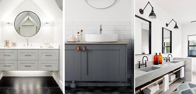 Cuarto de baño con muebles grises